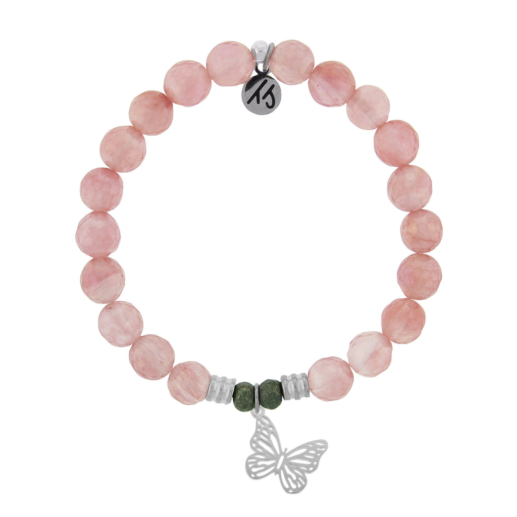 Watermelon Quartz Stone Bracelet with Butterfly Sterling Silver Charm