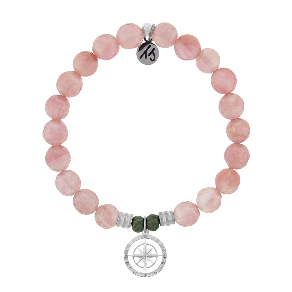 Watermelon Quartz Stone Bracelet with Compass Rose Sterling Silver Charm