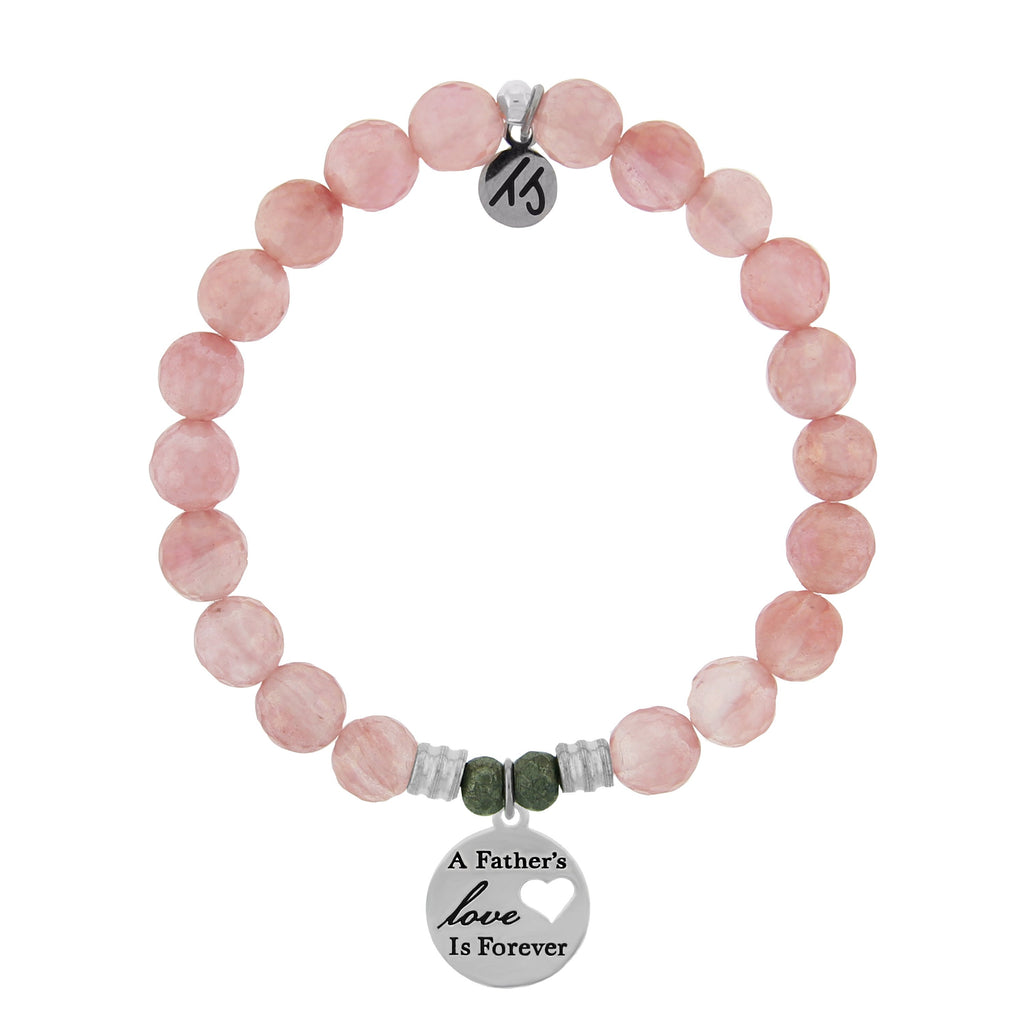 Watermelon Quartz Stone Bracelet with Fathers Love Sterling Silver Charm