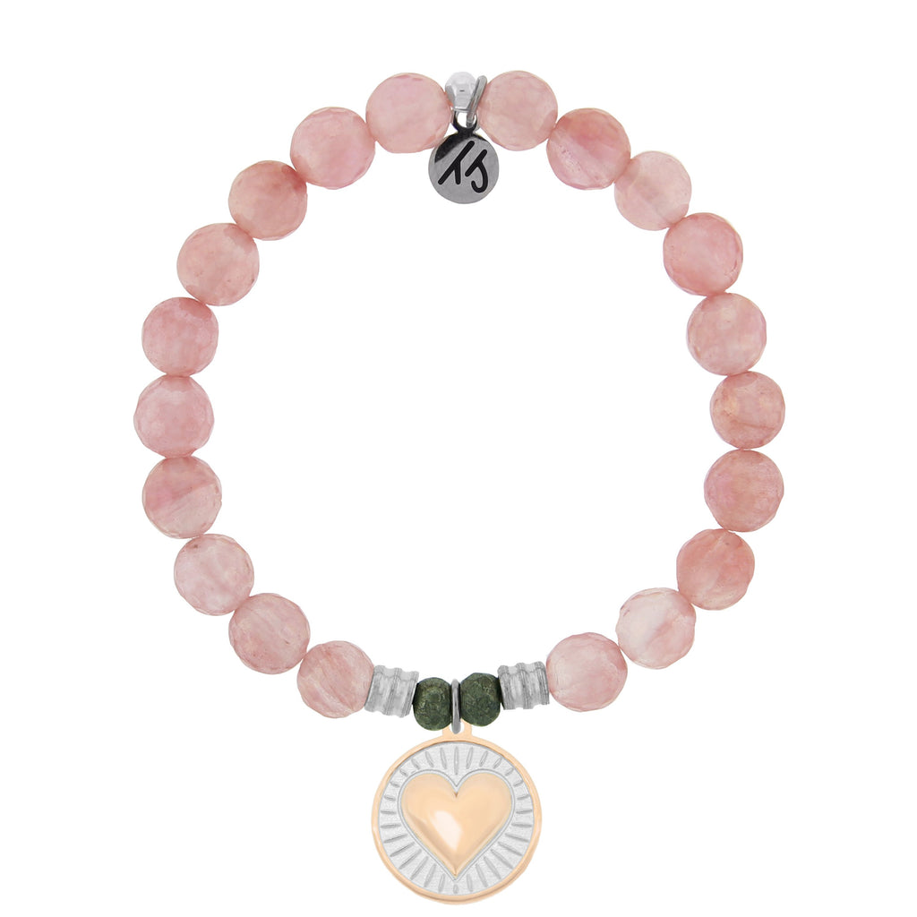 Watermelon Quartz Stone Bracelet with Heart of Gold Sterling Silver Charm