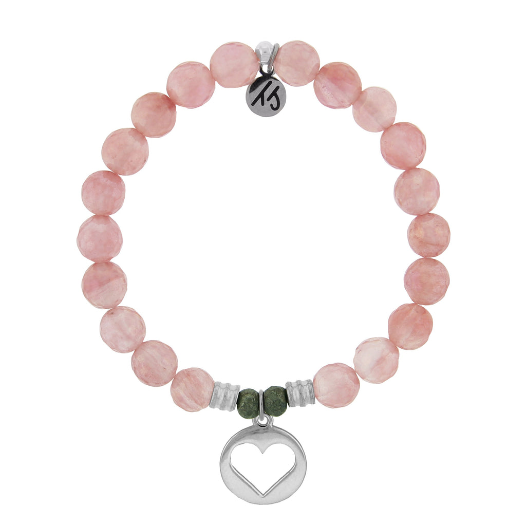 Watermelon Quartz Stone Bracelet with Heart Sterling Silver Charm