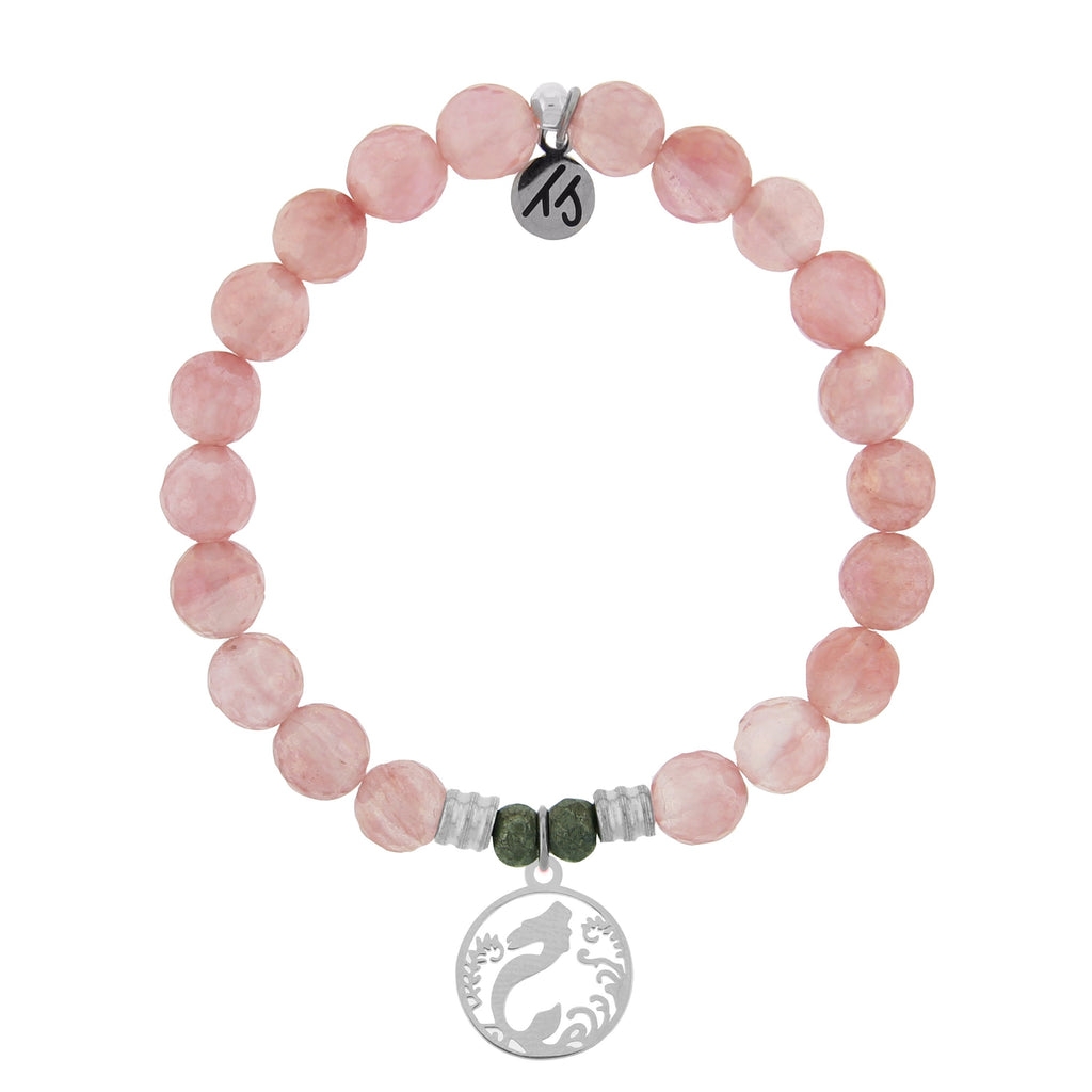 Watermelon Quartz Stone Bracelet with Mermaid Sterling Silver Charm