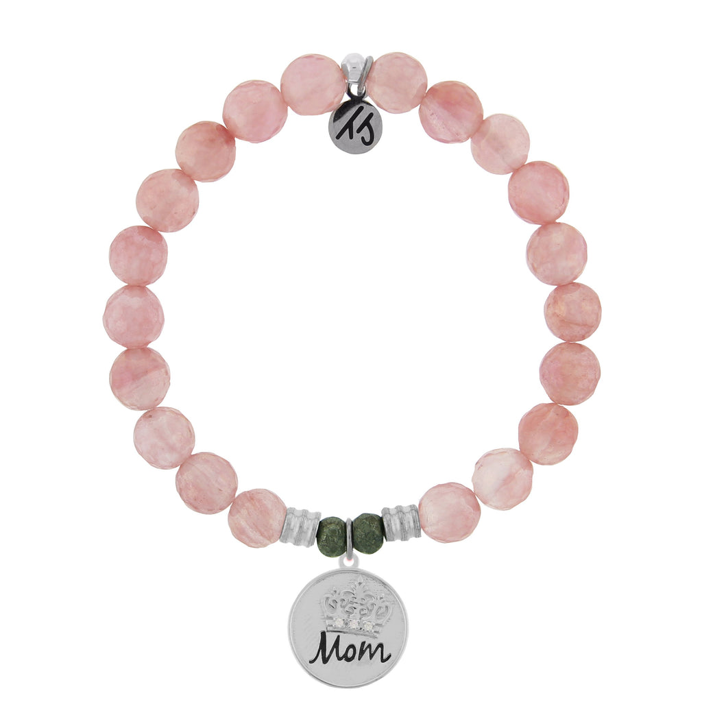 Watermelon Quartz Stone Bracelet with Mom Crown Sterling Silver Charm