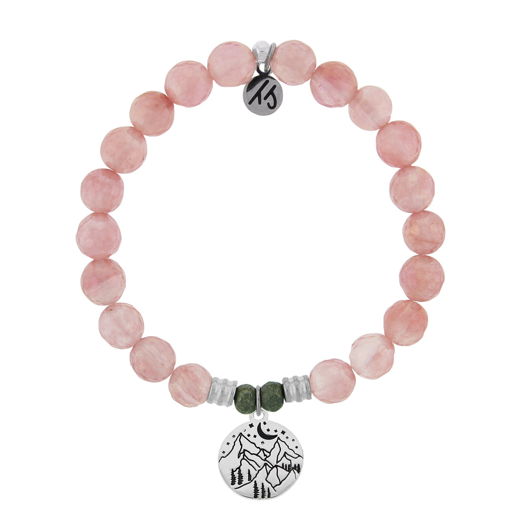 Watermelon Quartz Stone Bracelet with Mountain Sterling Silver Charm