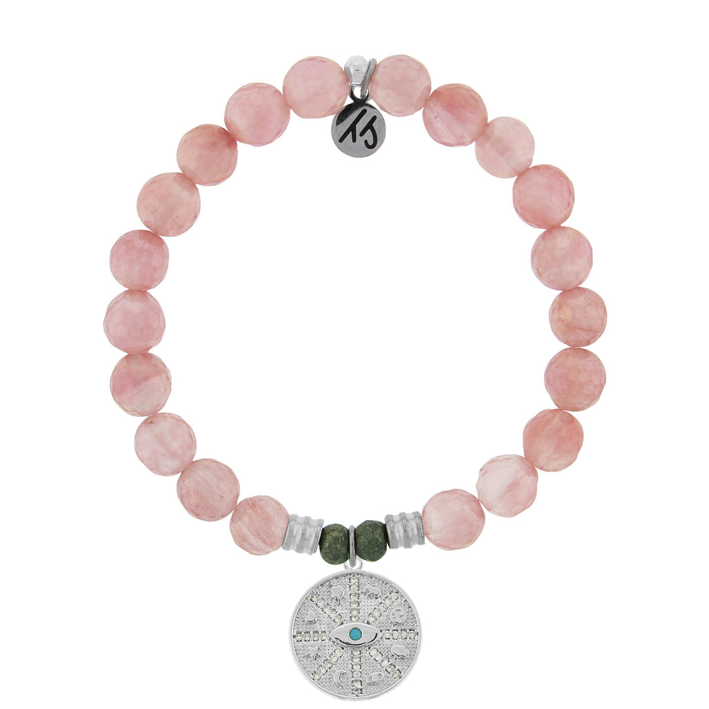 Watermelon Quartz Stone Bracelet with Protection Sterling Silver Charm