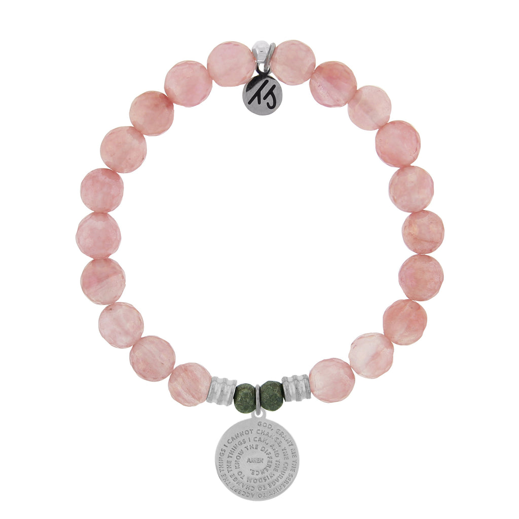 Watermelon Quartz Stone Bracelet with Serenity Prayer Sterling Silver Charm
