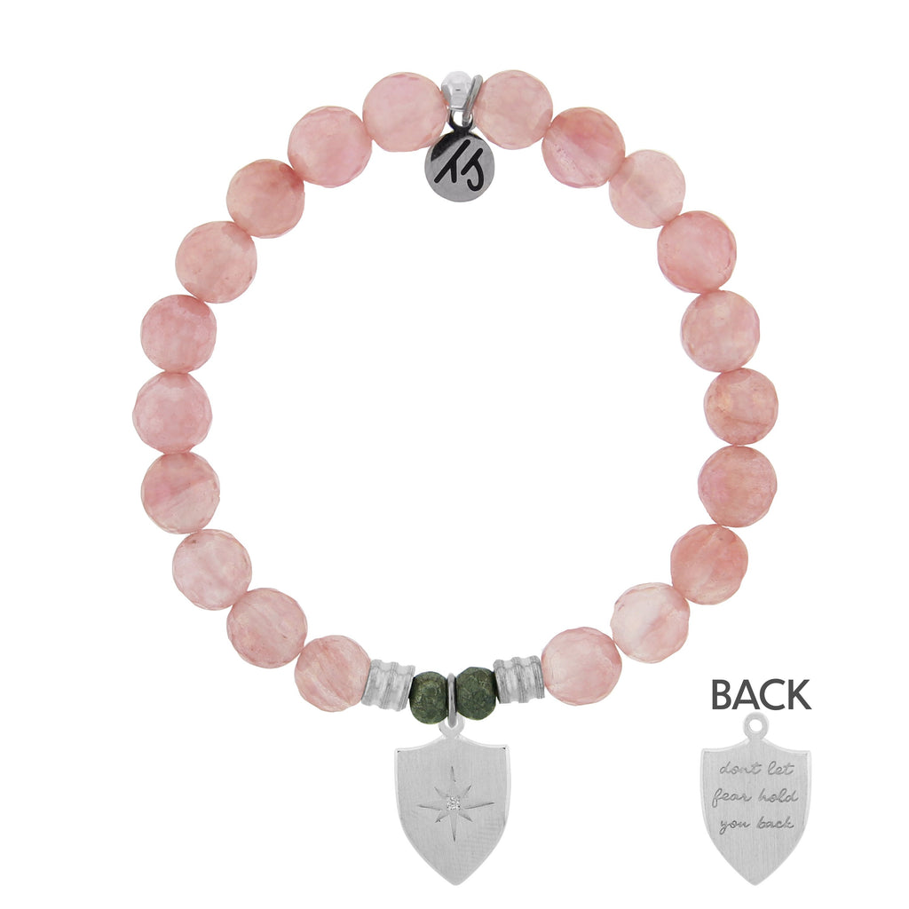 Watermelon Quartz Stone Bracelet with Shield Of Strength Sterling Silver Charm