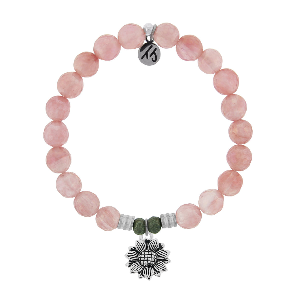 Watermelon Quartz Stone Bracelet with Sunflower Sterling Silver Charm