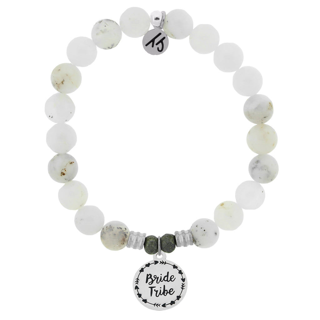 White Chalcedony Bracelet with Bride Tribe Sterling Silver Charm