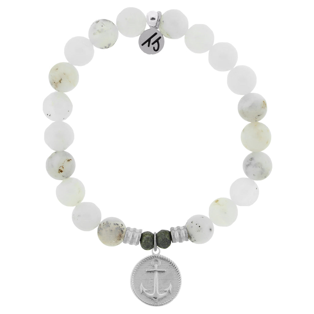 White Chalcedony Stone Bracelet with Anchor Sterling Silver Charm