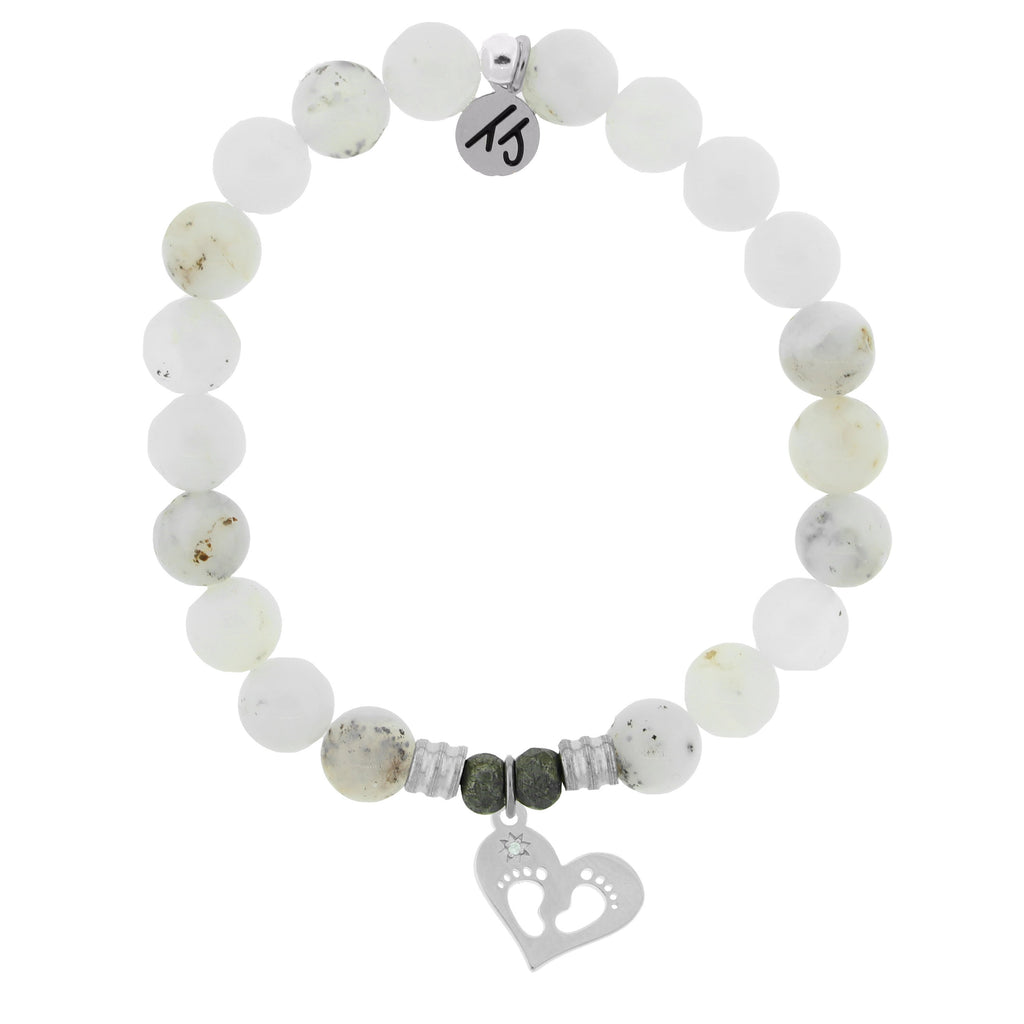 White Chalcedony Stone Bracelet with Baby Feet Sterling Silver Charm