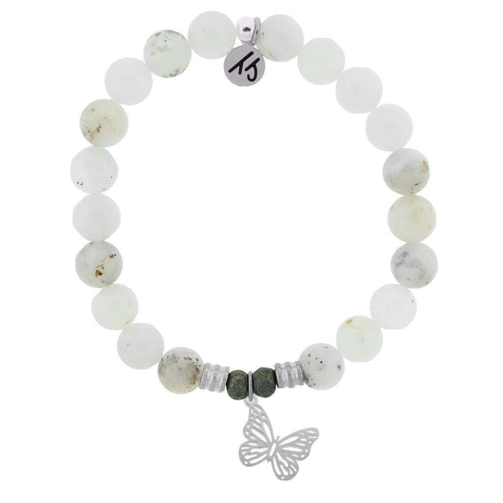 White Chalcedony Stone Bracelet with Butterfly Sterling Silver Charm
