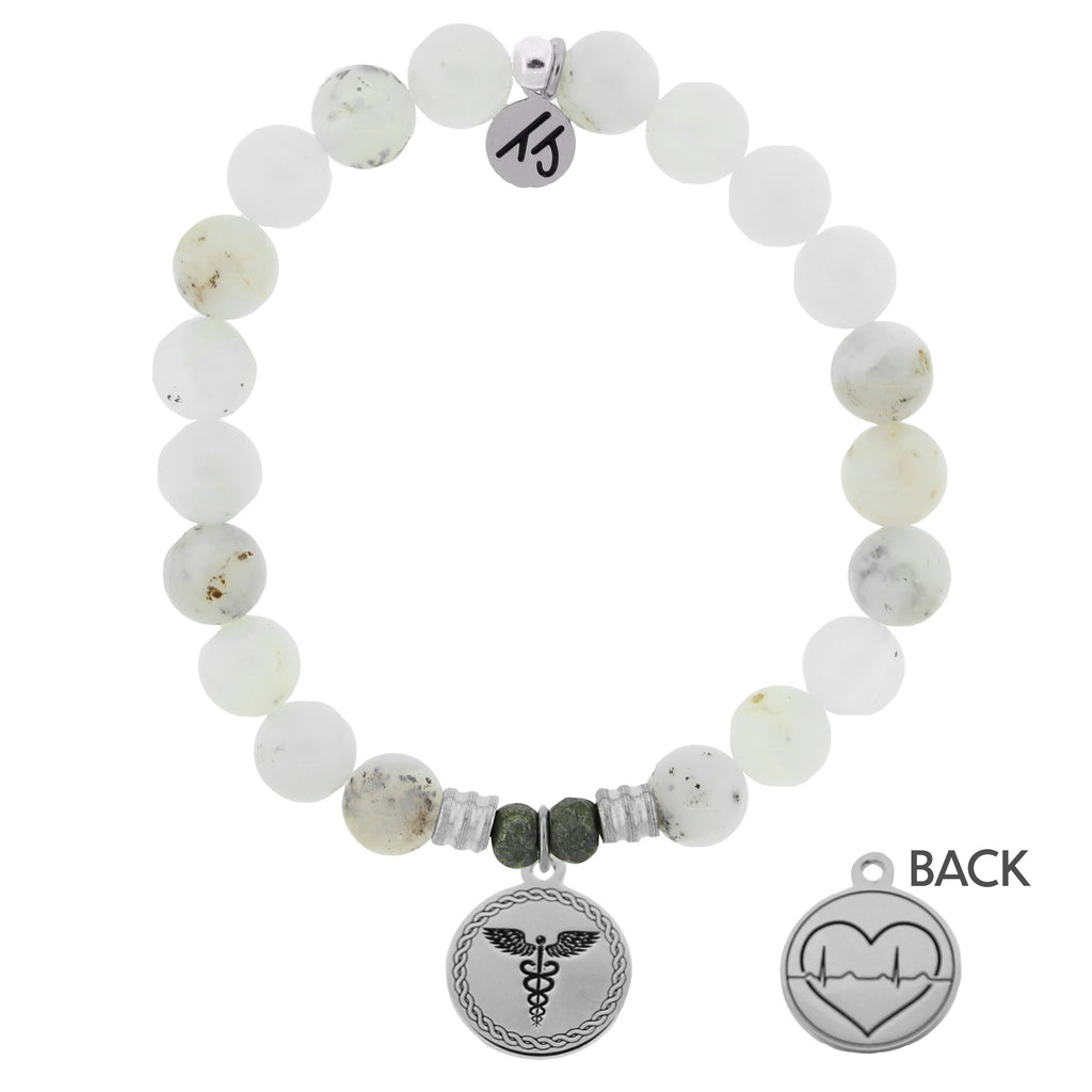 White Chalcedony Stone Bracelet with Caduceus Sterling Silver Charm
