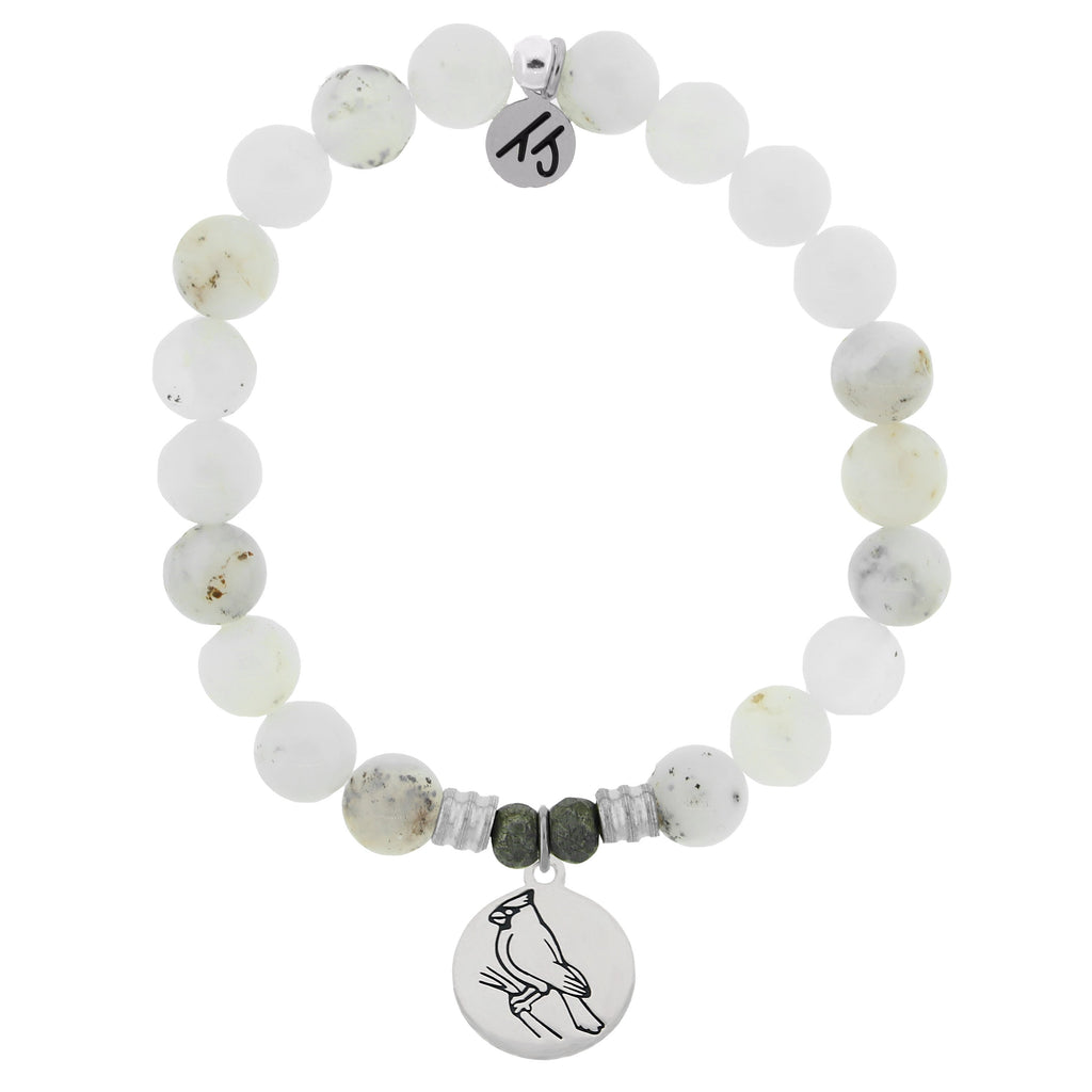 White Chalcedony Stone Bracelet with Cardinal Sterling Silver Charm