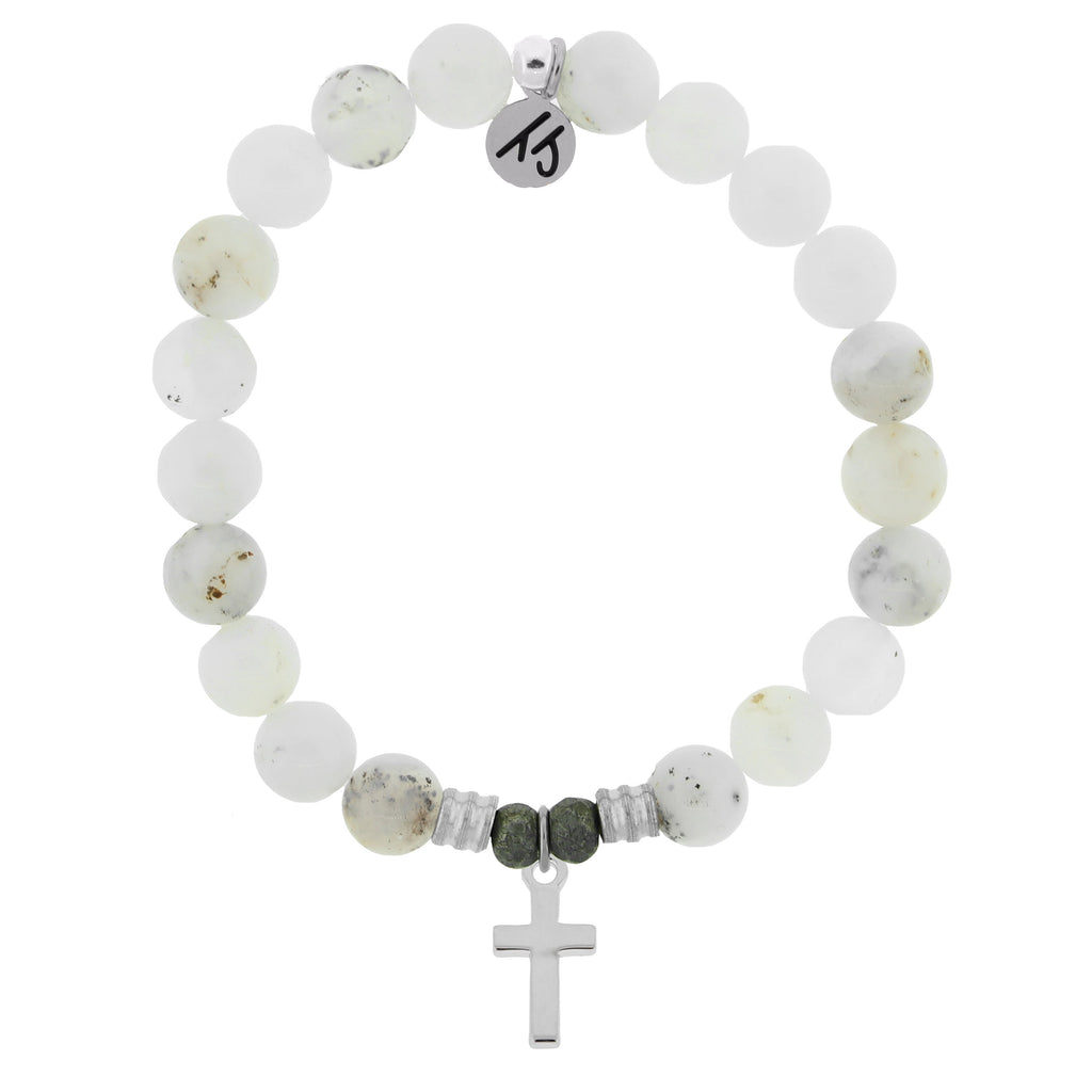 White Chalcedony Stone Bracelet with Cross Sterling Silver Charm