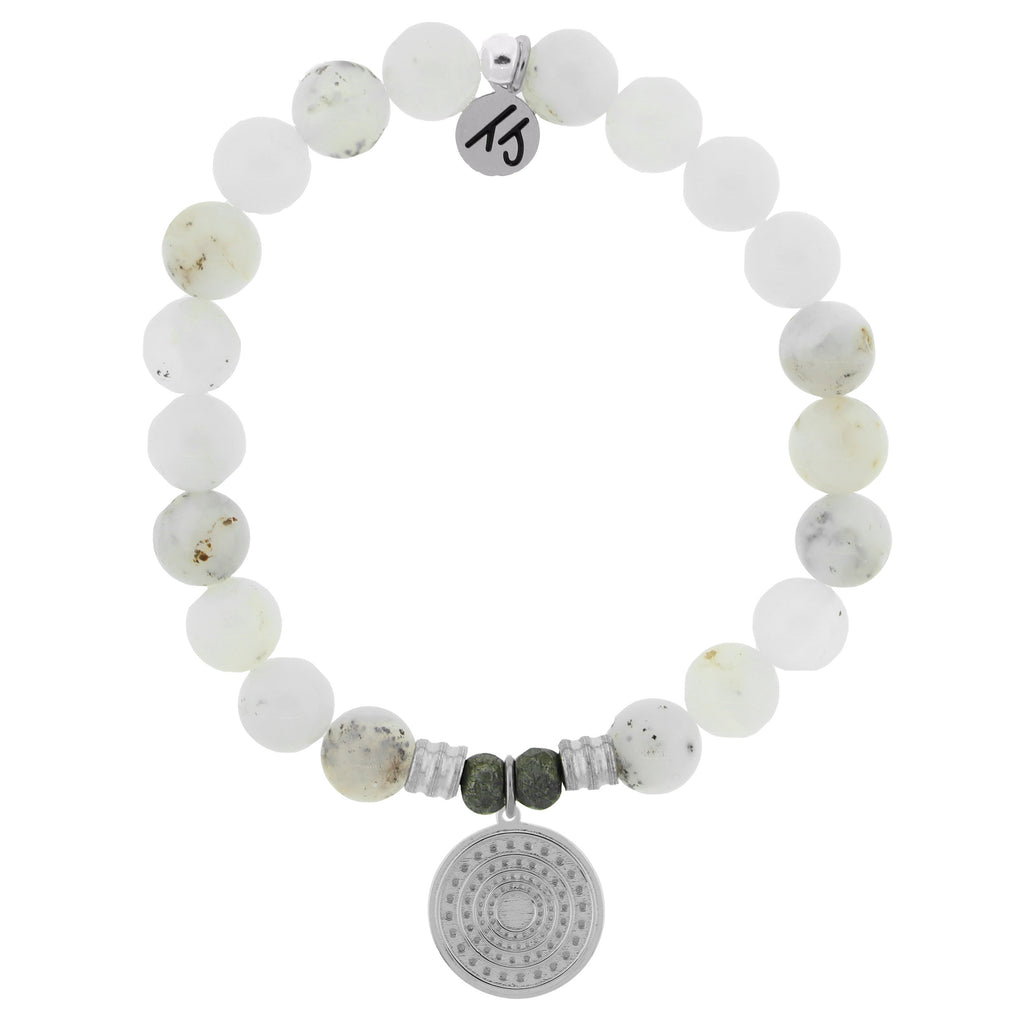 White Chalcedony Stone Bracelet with Family Circle Sterling Silver Charm
