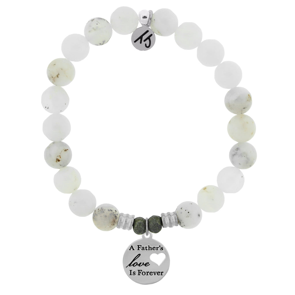 White Chalcedony Stone Bracelet with Fathers Love Sterling Silver Charm