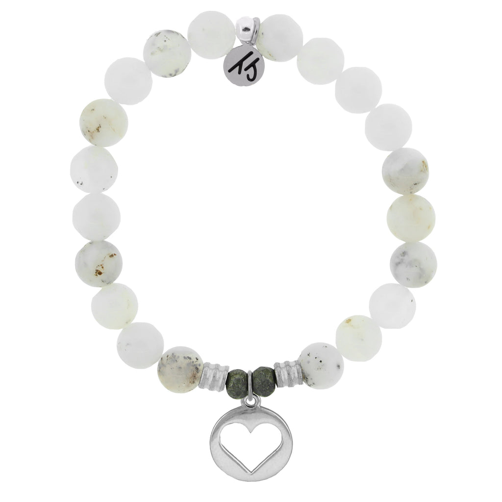 White Chalcedony Stone Bracelet with Heart Sterling Silver Charm