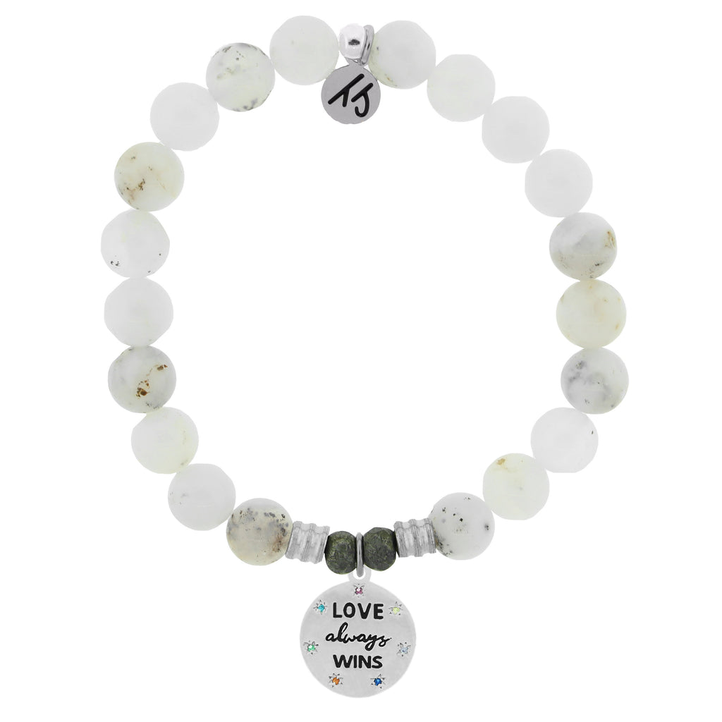 White Chalcedony Stone Bracelet with Love Always Wins Sterling Silver Charm