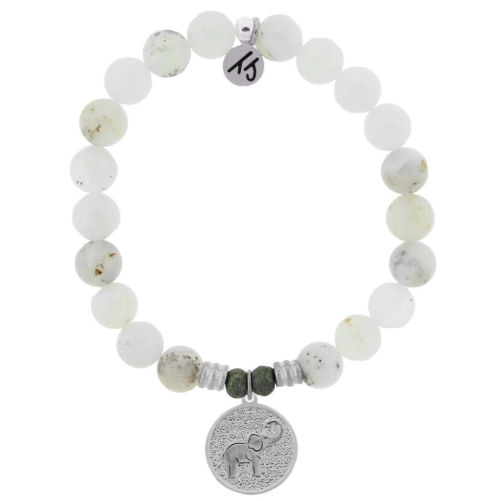 White Chalcedony Stone Bracelet with Lucky Elephant Sterling Silver Charm