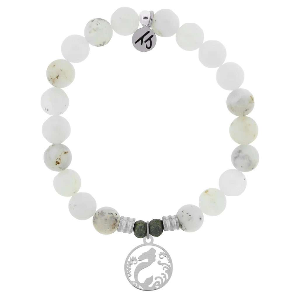 White Chalcedony Stone Bracelet with Mermaid Sterling Silver Charm