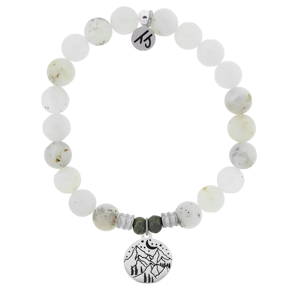 White Chalcedony Stone Bracelet with Mountain Sterling Silver Charm