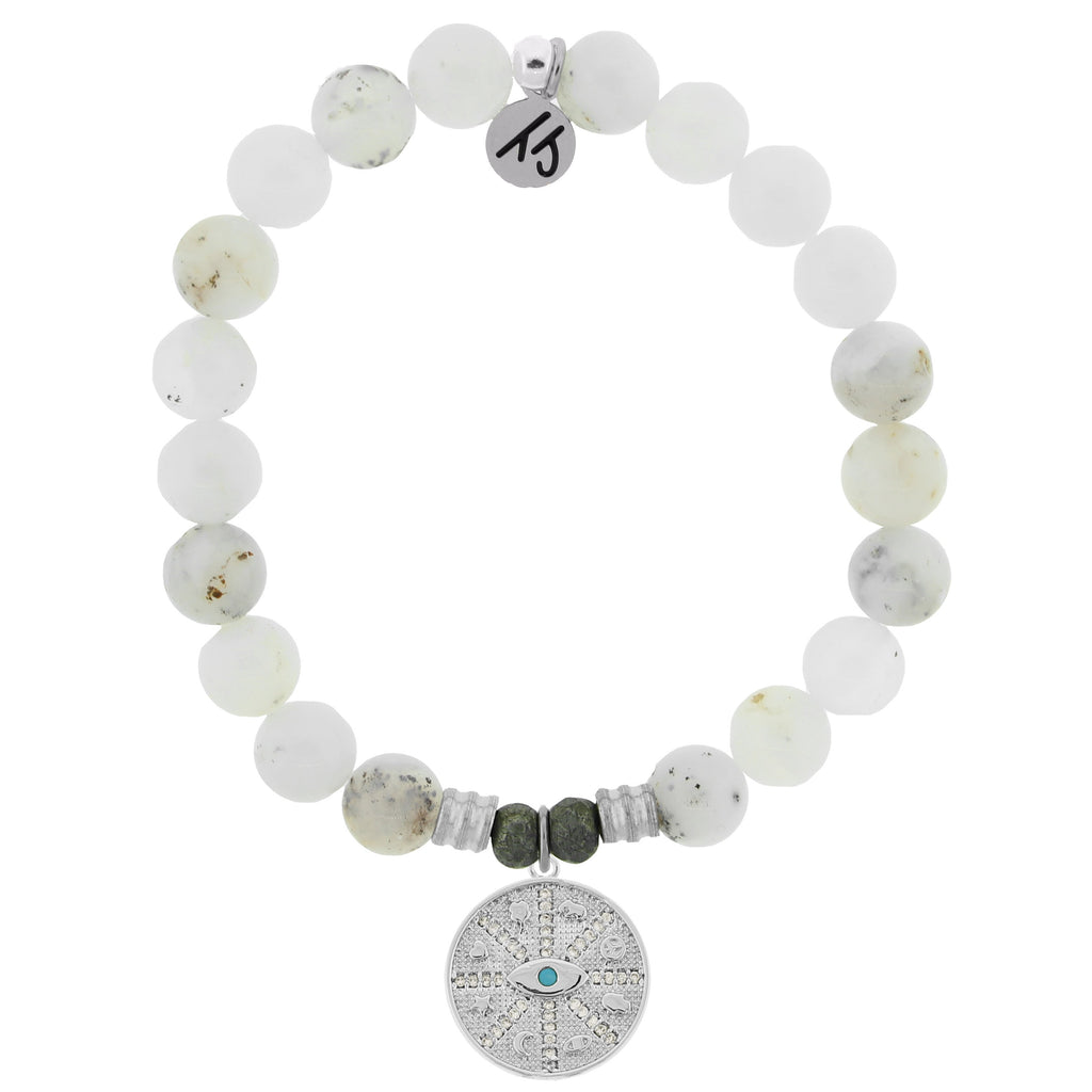 White Chalcedony Stone Bracelet with Protection Sterling Silver Charm