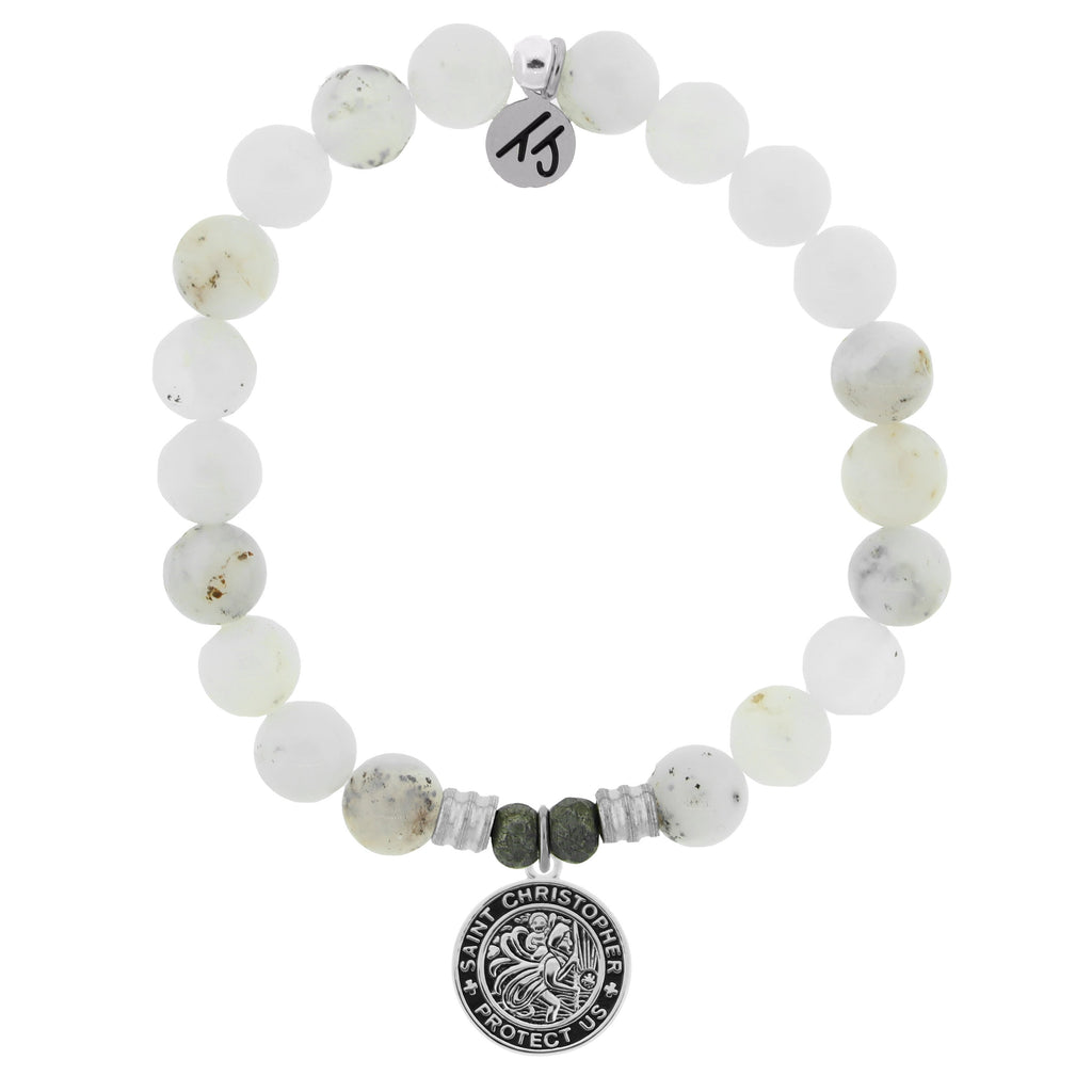 White Chalcedony Stone Bracelet with Saint Christopher Sterling Silver Charm