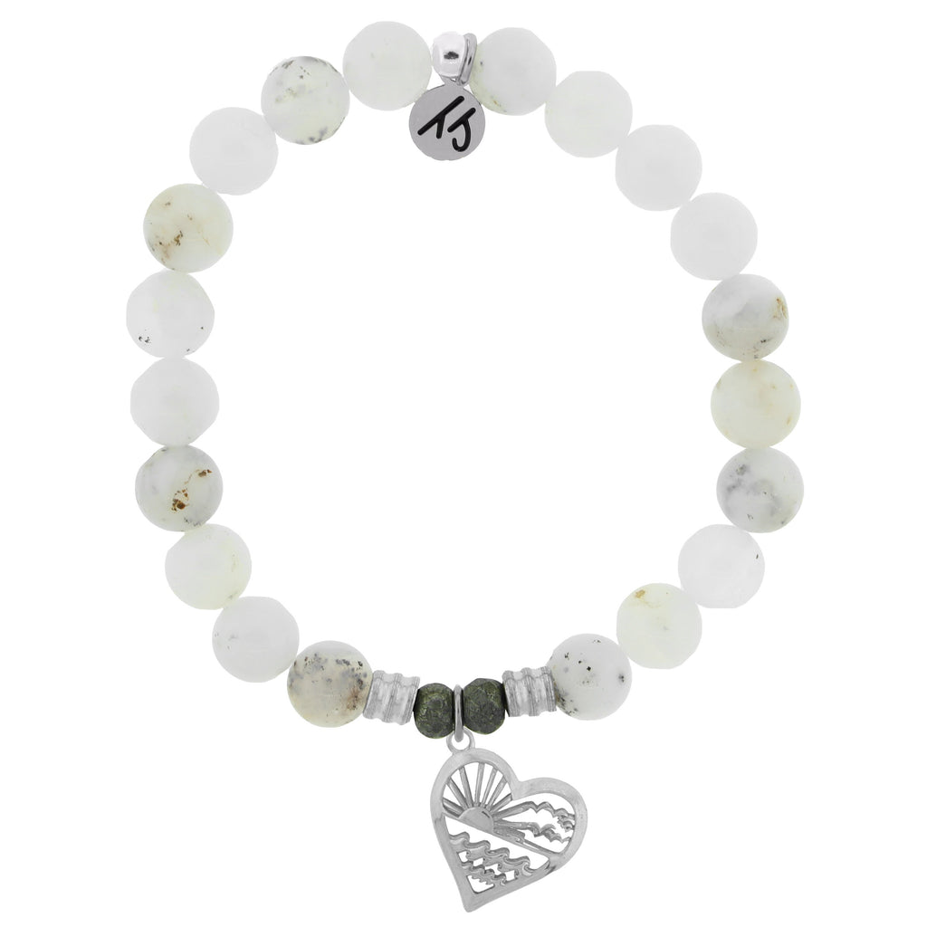 White Chalcedony Stone Bracelet with Seas the Day Sterling Silver Charm