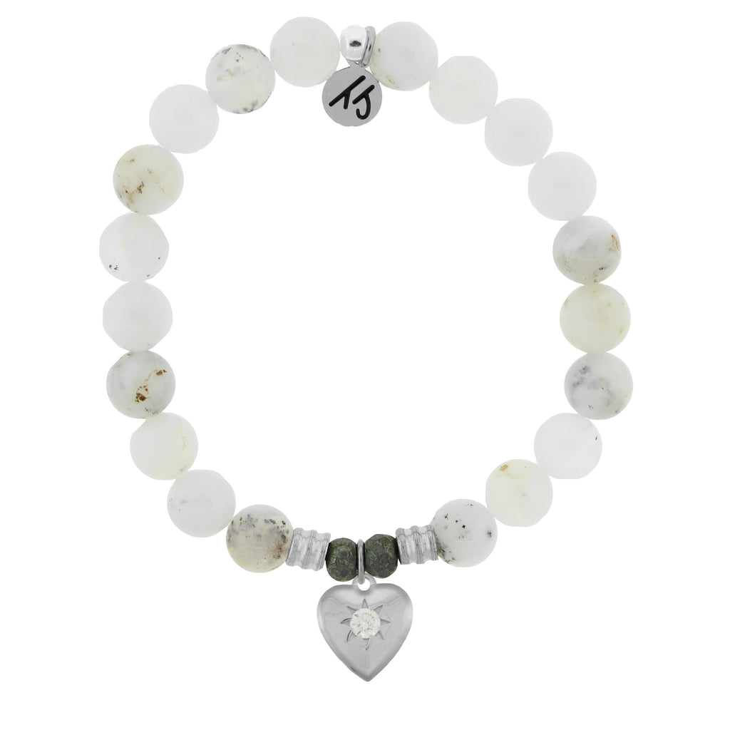 White Chalcedony Stone Bracelet with Self Love Sterling Silver Charm