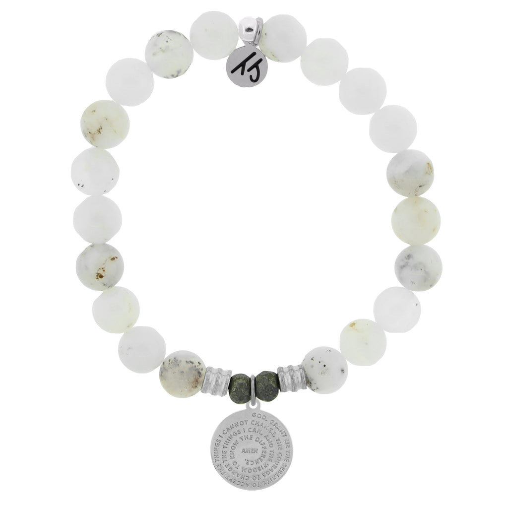 White Chalcedony Stone Bracelet with Serenity Prayer Sterling Silver Charm