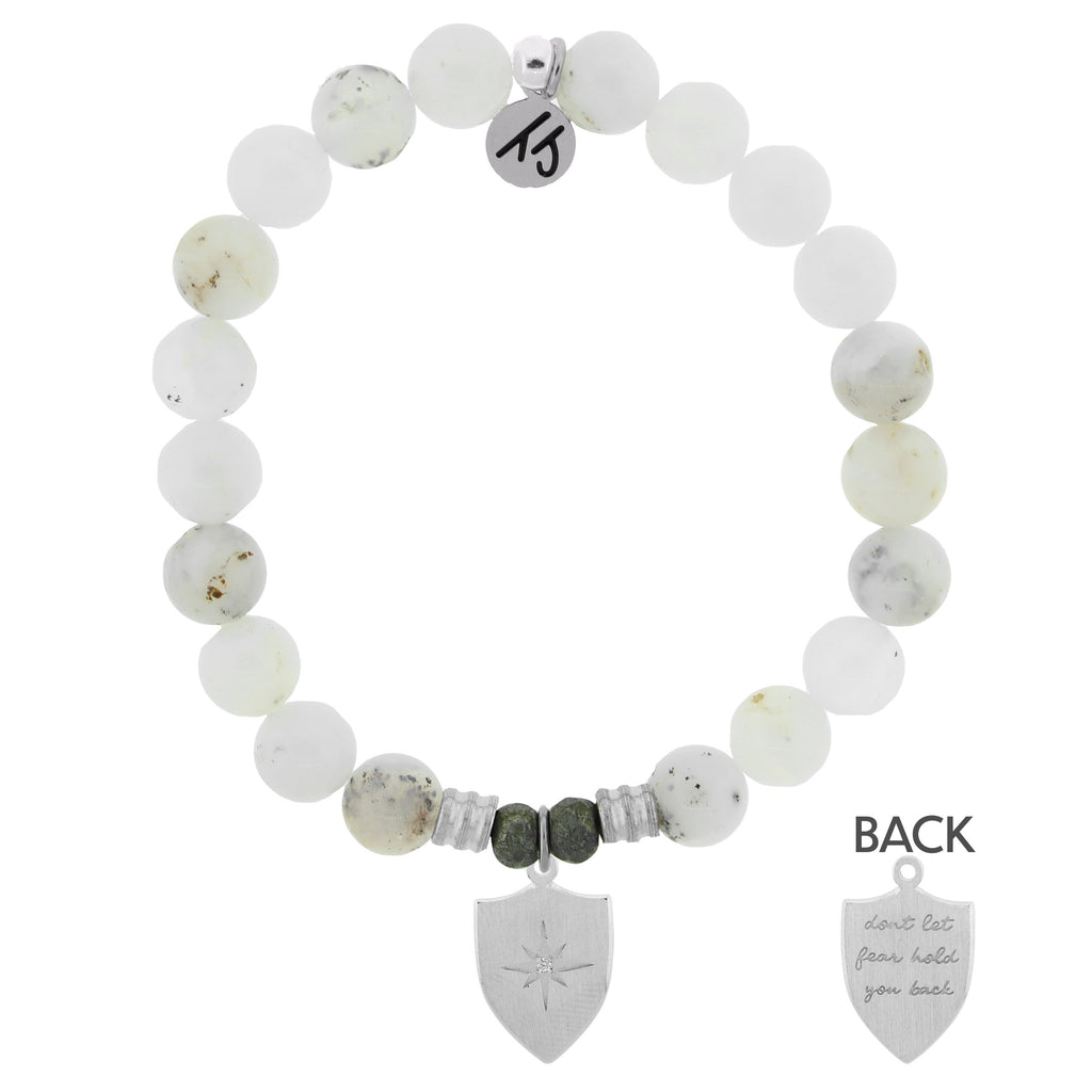 White Chalcedony Stone Bracelet with Shield Of Strength Sterling Silver Charm