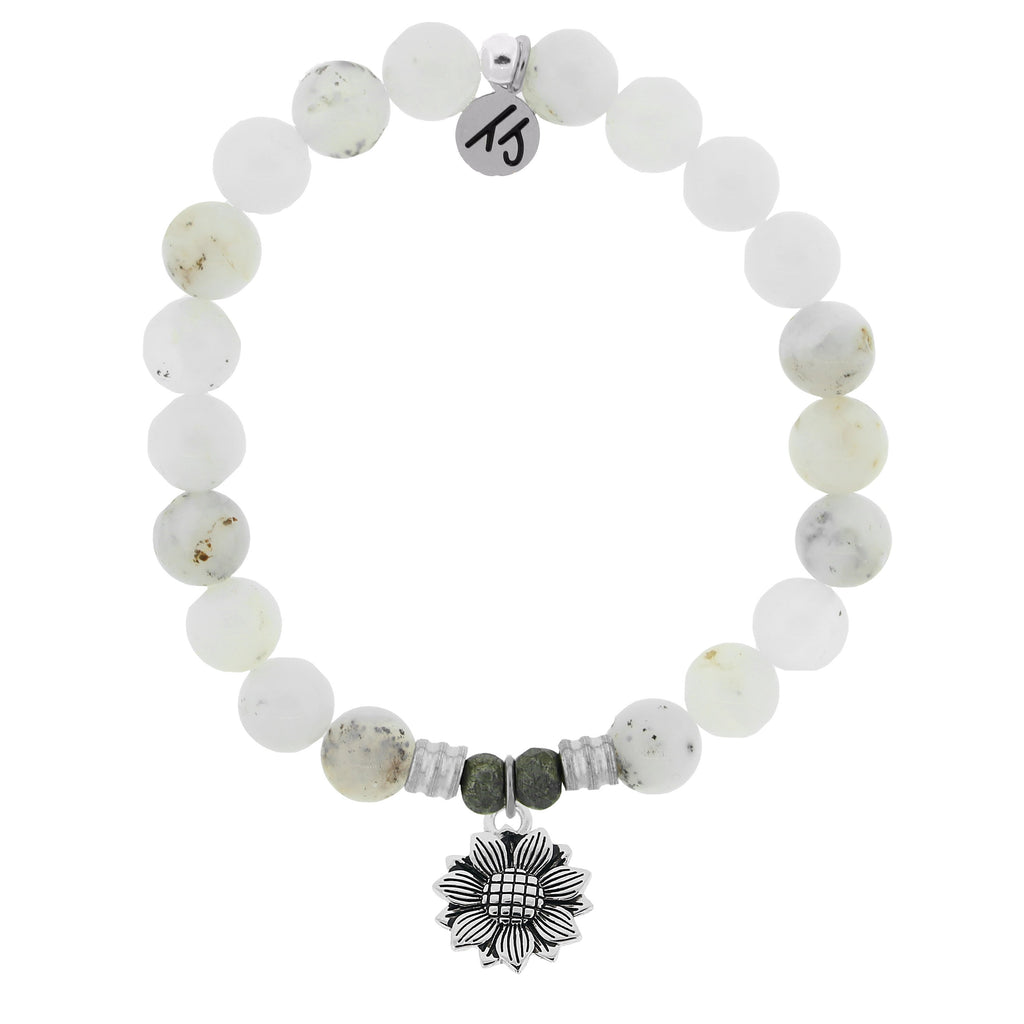 White Chalcedony Stone Bracelet with Sunflower Sterling Silver Charm