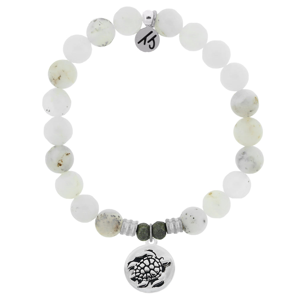 White Chalcedony Stone Bracelet with Turtle Sterling Silver Charm
