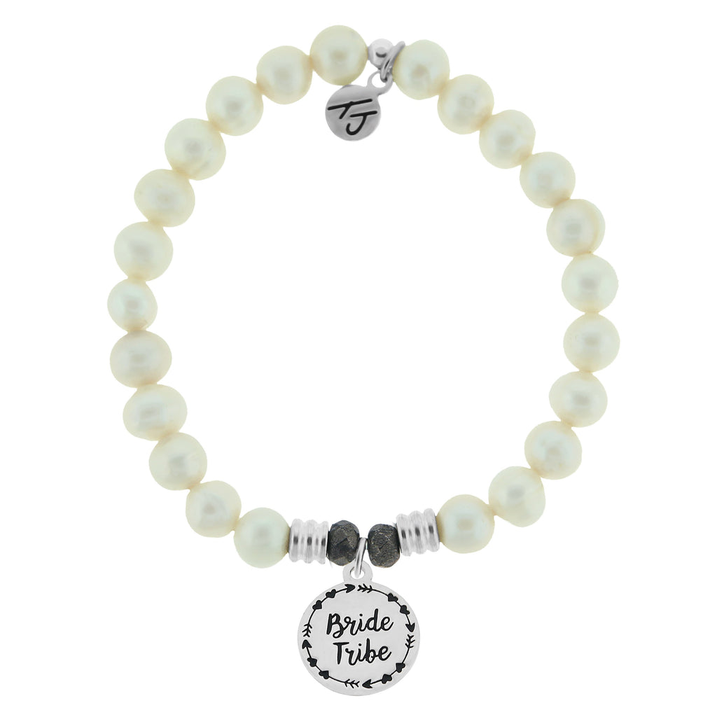 White Pearl Bracelet with Bride Tribe Sterling Silver Charm