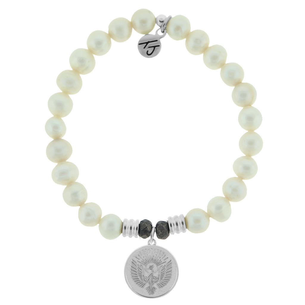 White Pearl Bracelet with Phoenix Sterling Silver Charm