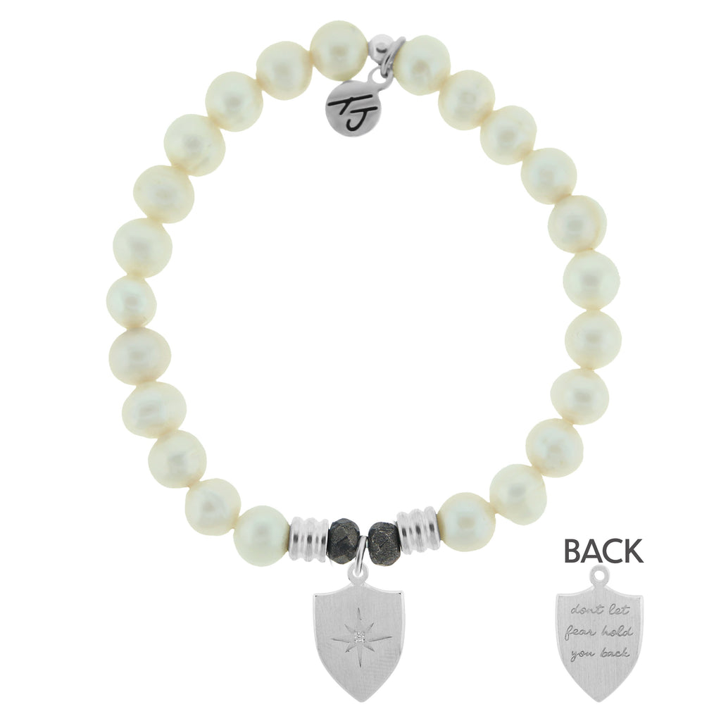 White Pearl Bracelet with Shield of Strength Sterling Silver Charm
