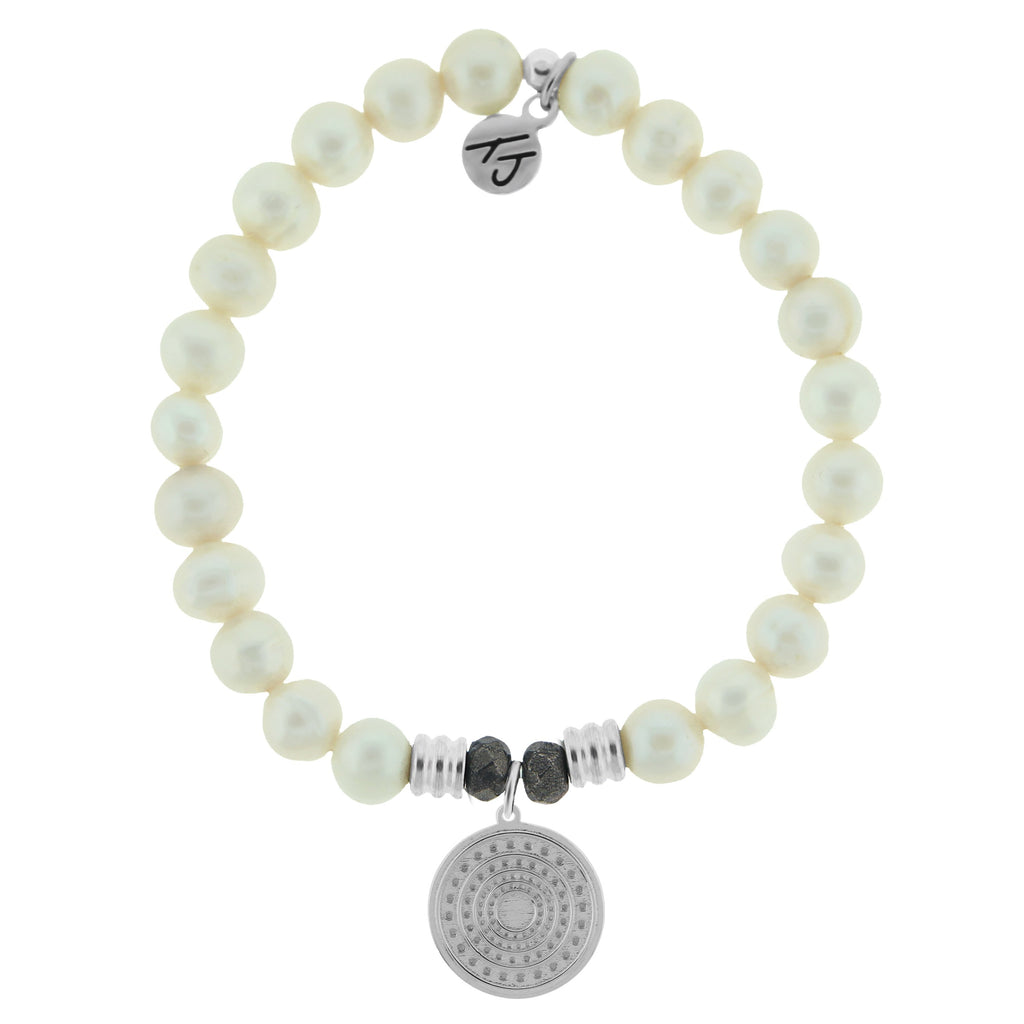 White Pearl Gemstone Bracelet with Family Circle Sterling Silver Charm