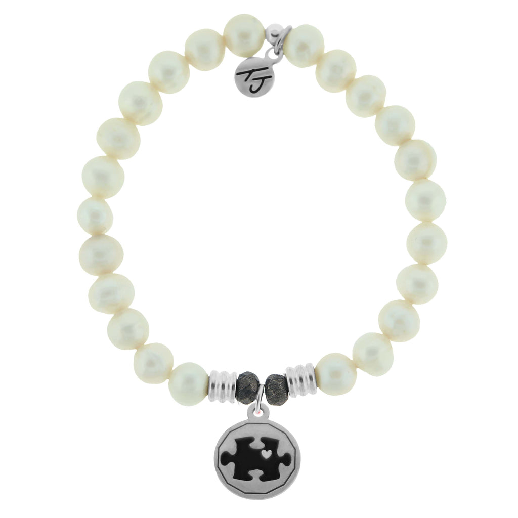 White Pearl Stone Bracelet with Autsim Awareness Sterling Silver Charm
