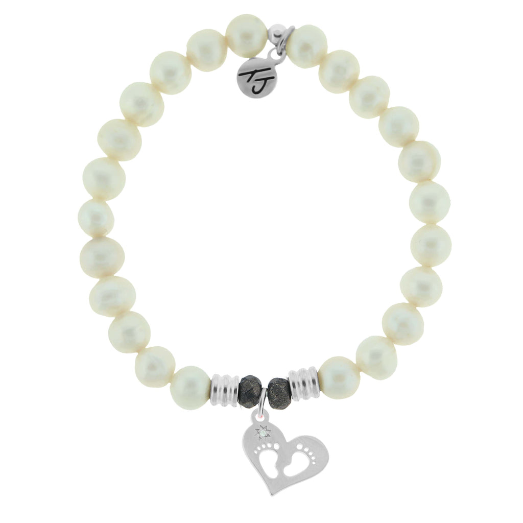 White Pearl Stone Bracelet with Baby Feet Sterling Silver Charm