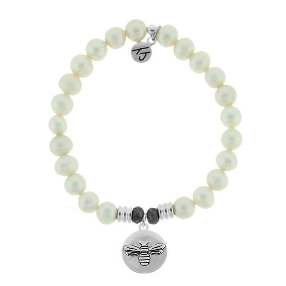White Pearl Stone Bracelet with Bee You Sterling Silver Charm