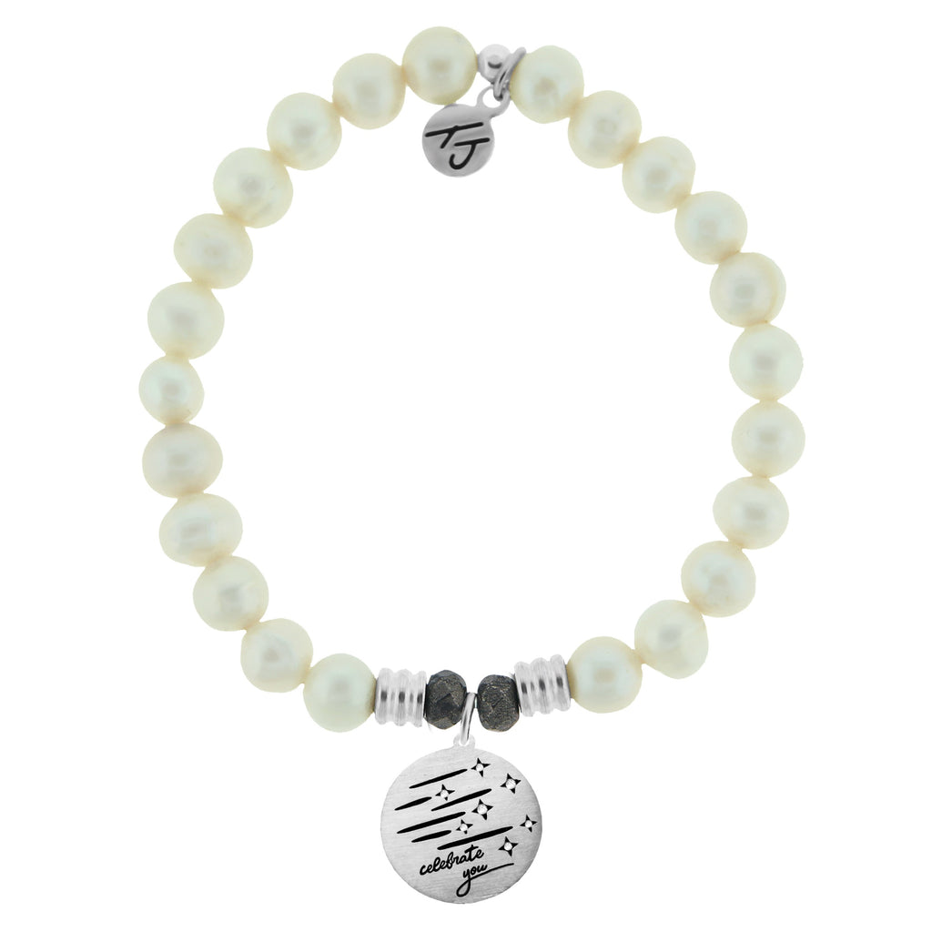 White Pearl Stone Bracelet with Birthday Wishes Sterling Silver Charm