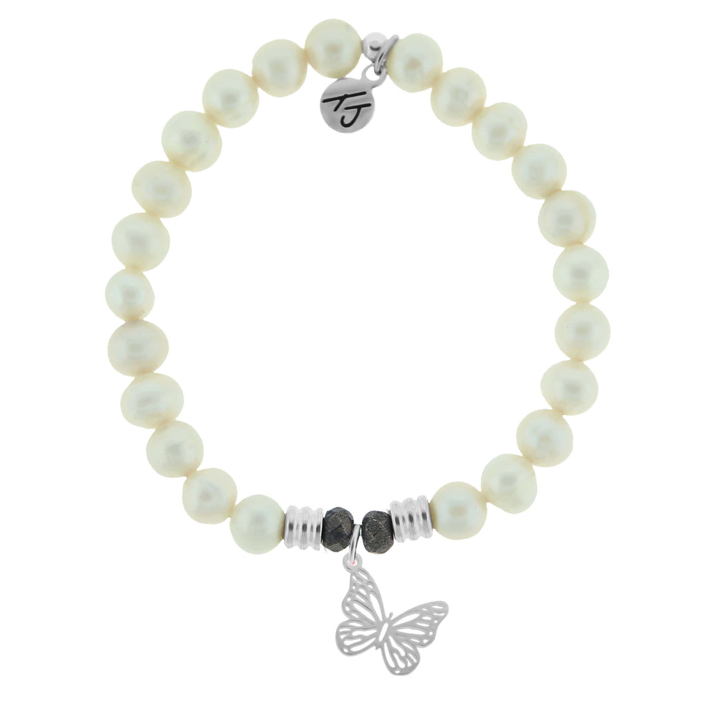 White Pearl Stone Bracelet with Butterfly Sterling Silver Charm