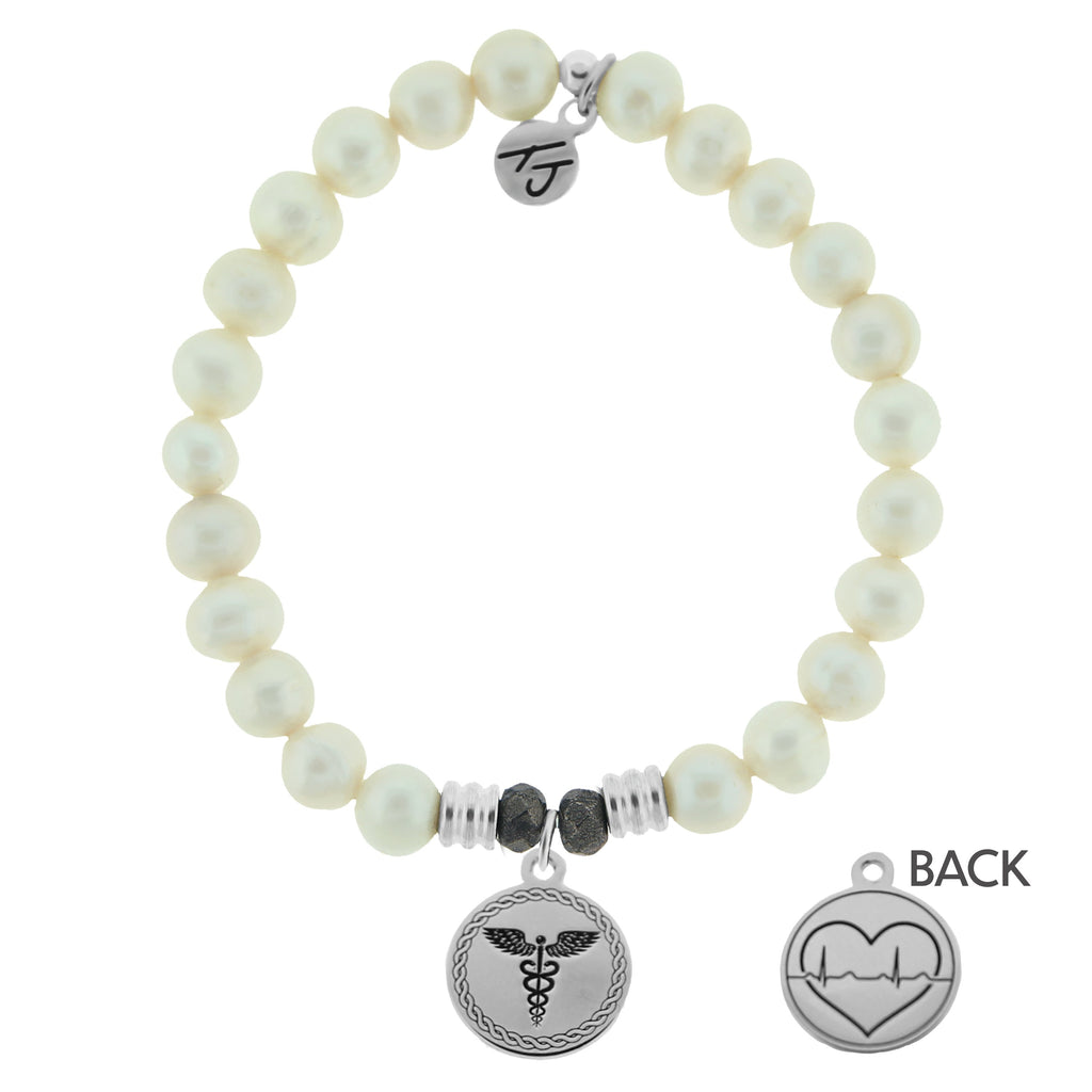White Pearl Stone Bracelet with Caduceus Sterling Silver Charm