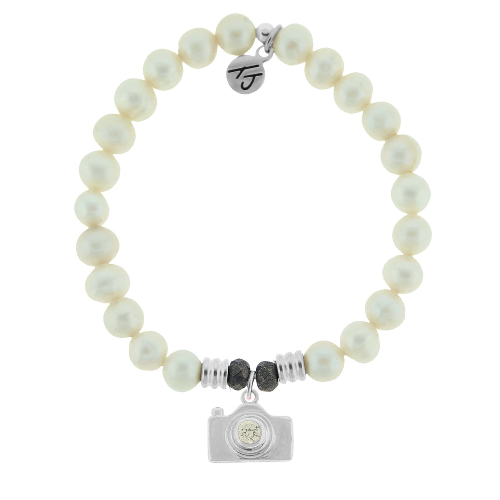 White Pearl Stone Bracelet with Camera Sterling Silver Charm