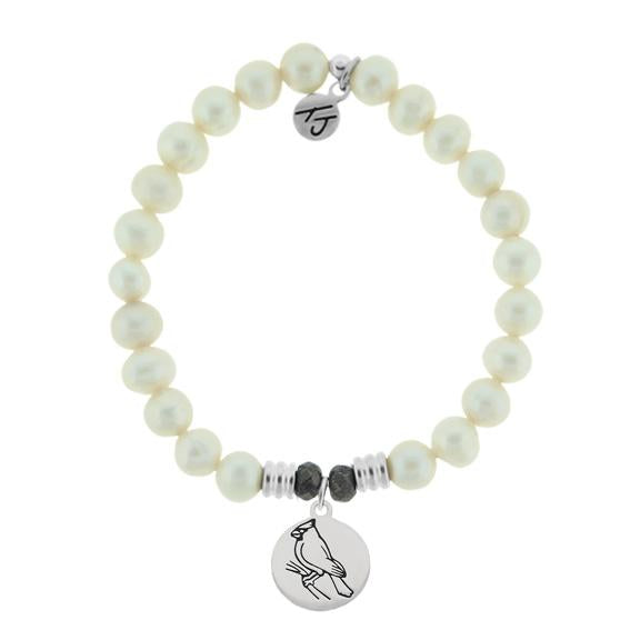 White Pearl Stone Bracelet with Cardinal Sterling Silver Charm