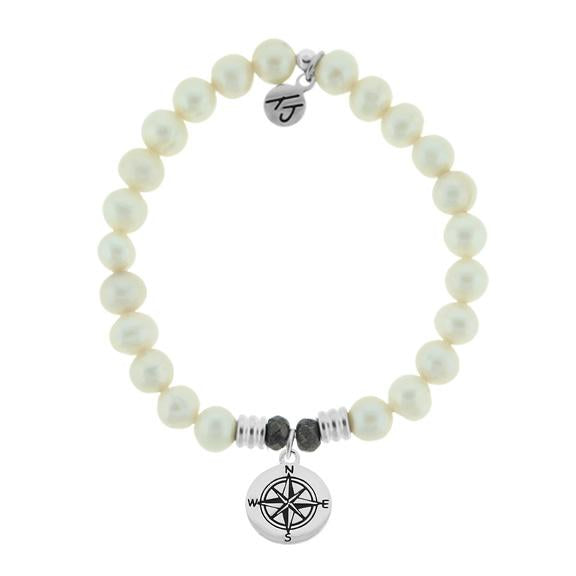 White Pearl Stone Bracelet with Compass Sterling Silver Charm
