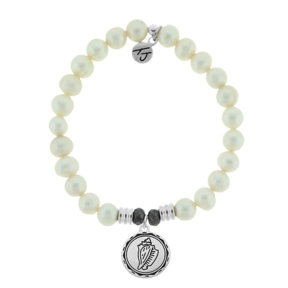 White Pearl Stone Bracelet with Conch Shell Sterling Silver Charm