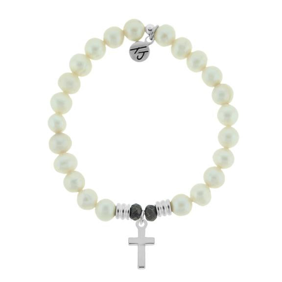 White Pearl Stone Bracelet with Cross Sterling Silver Charm