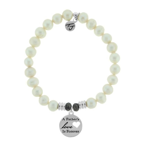 White Pearl Stone Bracelet with Fathers Love Sterling Silver Charm
